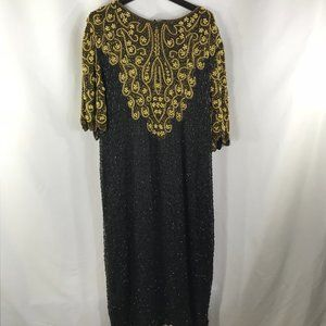 CARINA BLACK/GOLD BEADED SIZE 3X MAXI DRESS